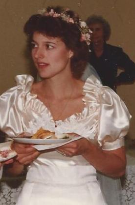 My wedding, wearing lavalier