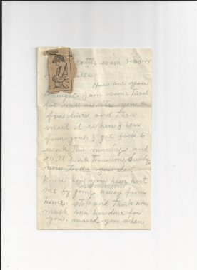 butterfield_letter to lalla_20 Mar 1915 (4)_page one_tiny newsprint down