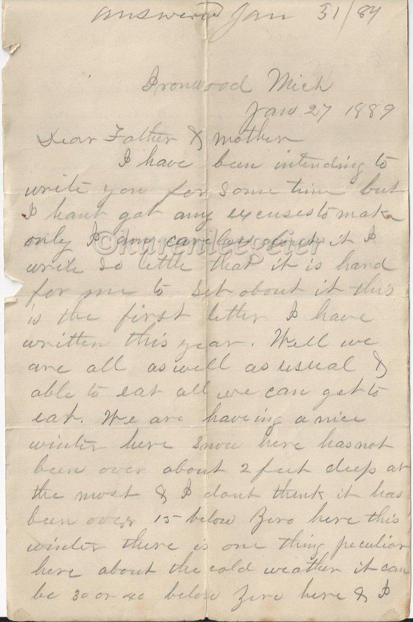 Letter #1: January 27,1889