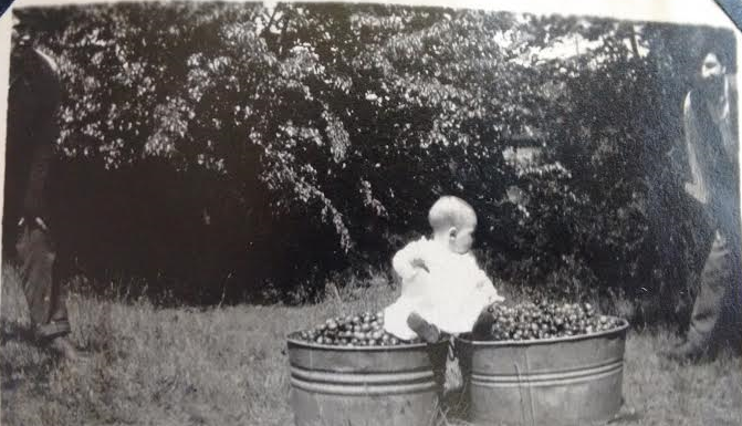 April 2016_baby Smith on tubs of crabapples_two men along sides