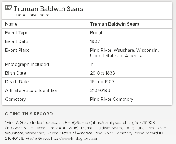 April 2016_death record_Truman Baldwin Sears_Pine River WI_1907_co worker of Josiah