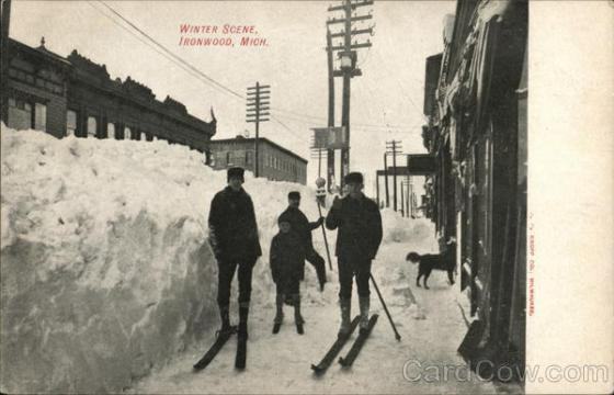 Boys in Skis, Winter Scene Ironwood, MI