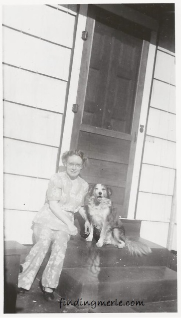 Hazel on steps of house on Park_30s