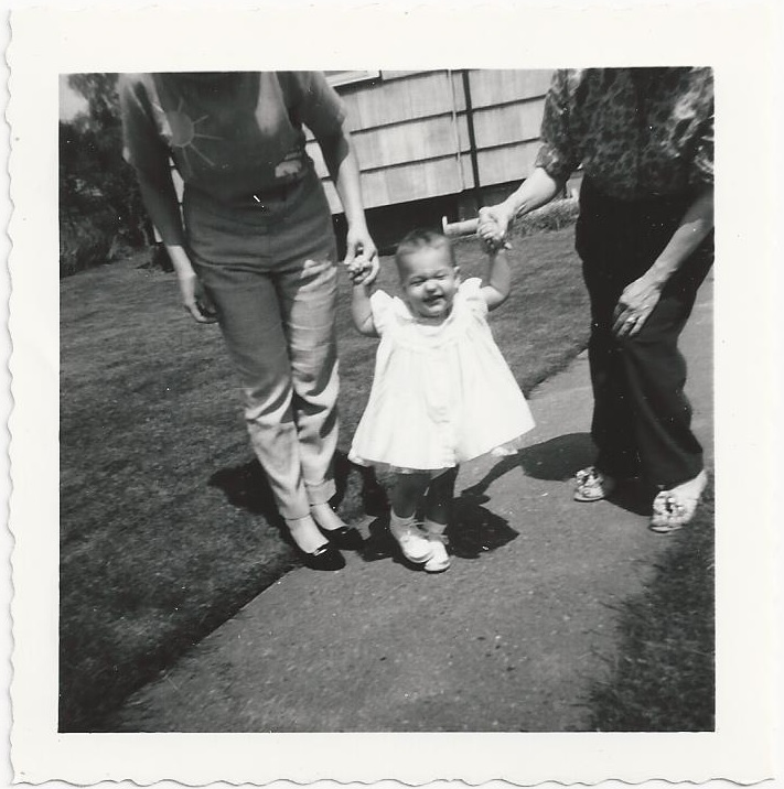 Karen walking with mom and Hazel_backyard of 228 South 59th_Tacoma_May 1960