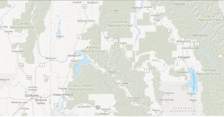 WA Idaho MT map of 2017 vacation areas