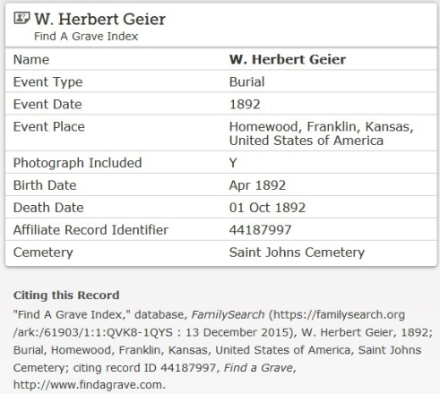 Geier W Herbert_death record FSearch_b April 1892 d 1 Oct 1892