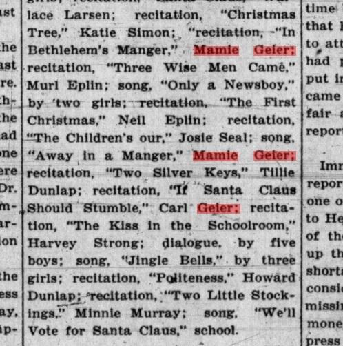 Geier_Carl and Mamie_christmas program 22 dec 1905_trout creek MT_sanders county ledger