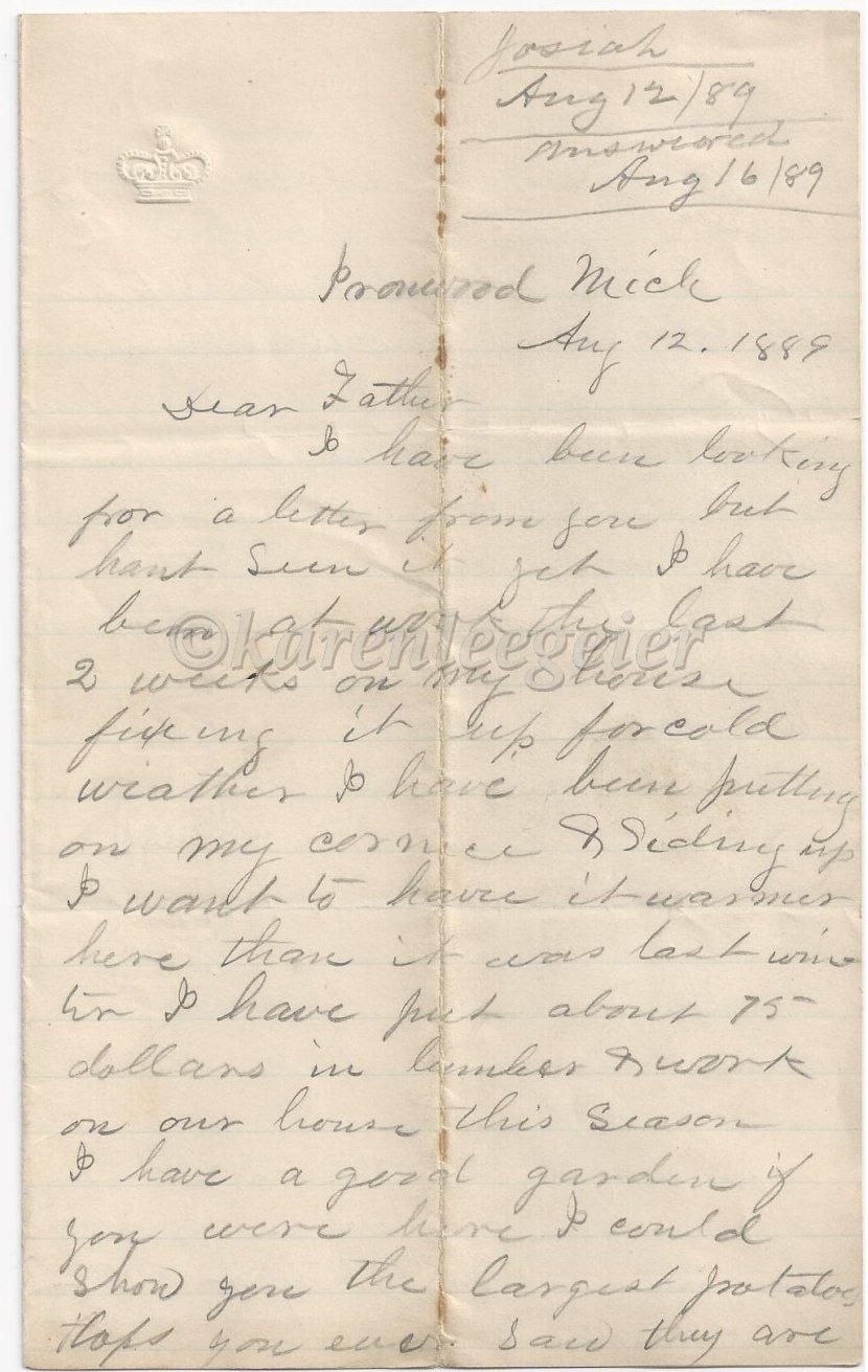 Letter #6: August 12,1889