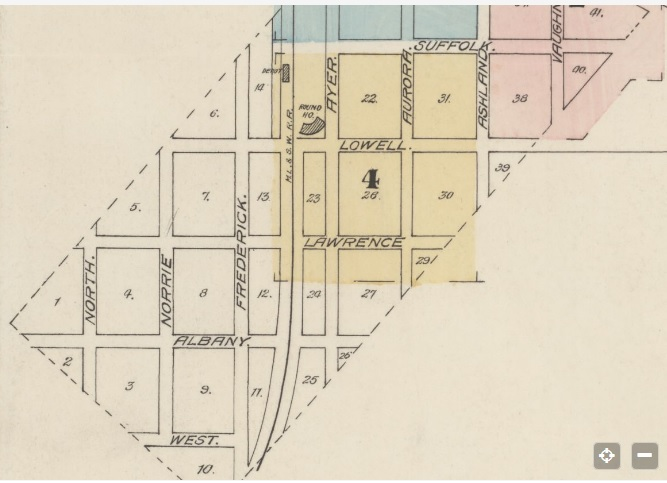 Smith_map of Ironwood_1888_Sanborn Fire maps_shows North and Norrie Streets betw Lawrence and Albany