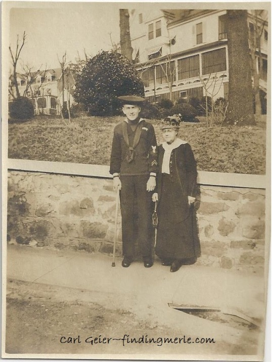 Carl Geier and possibly his mother Bertha Servatius Keane_location unknown_after duty in Navy_note the cane.jpg