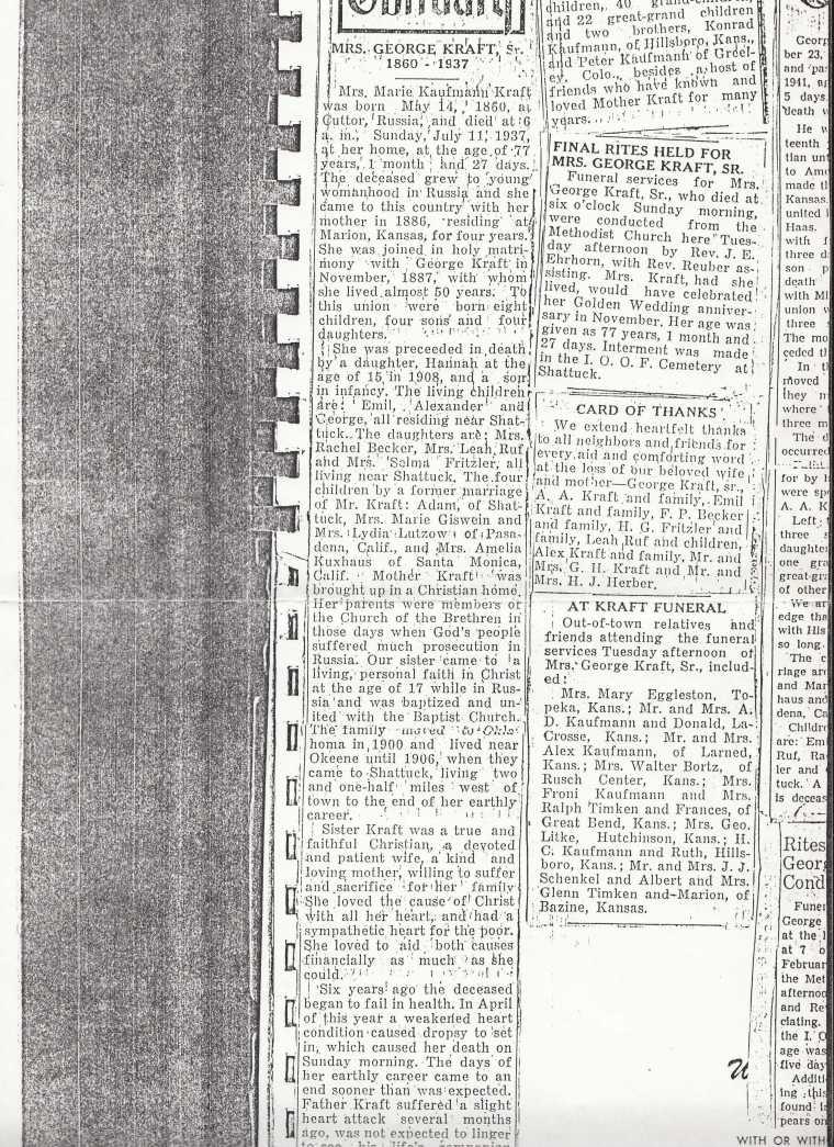 kraft_marie kaufman_obit_shared by rolinda russell and darrell kraft_1937 death